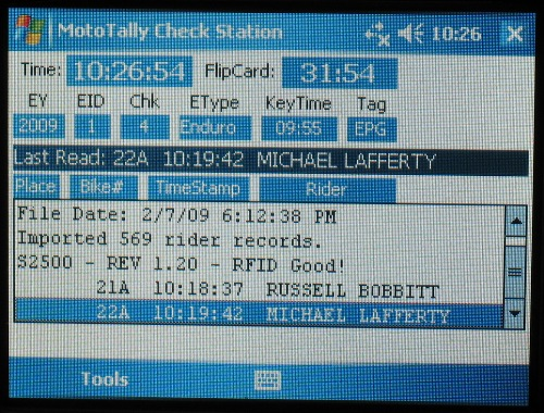 MotoTally Remote CheckStation (PPC screen closeup)